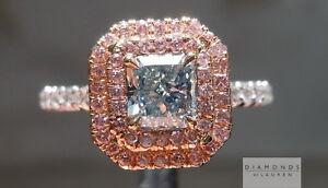 .71ct Fancy Green VS1 Radiant Cut GIA Double Halo Ring R5928 Diamonds by Lauren