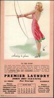 1940 Slocum Archery Beautiful Pinup Girl Laundry Ink Blotter Glendale California