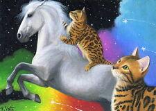 Bengal cat kittens Pegasus horse rainbow clouds fantasy OE aceo print art