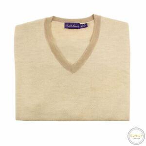 Ralph Lauren Purple Label Tan Brown 88% Cashmere Piped Chevron V-Neck Sweater XL