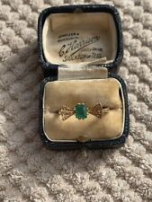 Antique Vintage Art Deco Style 18ct Gold Emerald & Diamond Ring