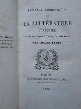 Jules JANIN : TABLEAUX ANECDOTIQUES DE LA LITTERATURE FRANCAISE, 1829.
