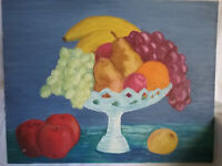 Vintage Oil Painting of a Footed Compote of Fruit, 18x14 inches, illegible autog