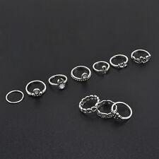 Retro 10Pcs/ Set Silver Boho Fashion Arrow Moon Midi Finger Knuckle Rings