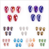 50pc Glass Crystal Charm Teardrop Spacer Loose Beads DIY Jewelry Finding 10x15mm