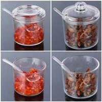 Clear Spices Seasoning Salt Pepper Shakers Bottle Jar Container Storage + Spoon