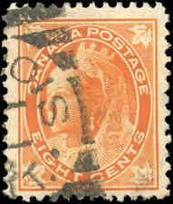 Used Canada 1899 8c F+ Scott #72 Queen Victoria Leaf Issue Stamp