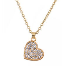 Fashion Cute Love Heart-shaped Crystal Pendant Gift Necklace for Mom Women Girls
