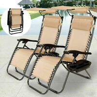 New Folding Zero Gravity Lounge Chairs Patio Beach Recliner w/ Canopy Cup Holder