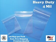 Clear Reclosable Zip Seal Lock Top Bags Plastic 4 Mil Jewelry Large Small Baggie