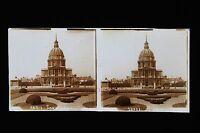 Parigi I Invalides Stereo Targa Di Vetro Vintage Ca 1925
