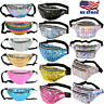 Holographic Fanny Pack Iridescent Shiny Waist Belt Hip Bum Bag Festival Travel