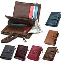 Mens Genuine Leather Bifold Wallet RFID Blocking Credit Card Wallet Cash Purses