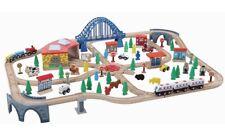 Wooden Train Set - Deluxe - 120 Pieces - Compatible with Brio & Thomas