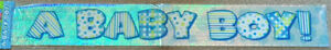 A BABY BOY~12FT NEW BABY BOY BANNER/BABY SHOWER/CHRISTENING.