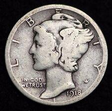 1918-D MERCURY DIME / CIRCULATED GRADE GOOD / VERY GOOD 90% SILVER COIN