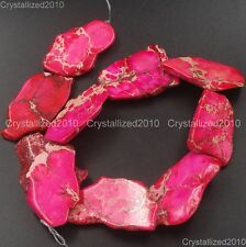 Natural Sea Sediment Jasper Gemstone 25~40mm Freeformed Nugget Sliced Beads 16''