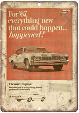 "1967 Chevy Impala Vintage Print Ad Retro Look 10"" x 7"" Reproduction Metal Sign"