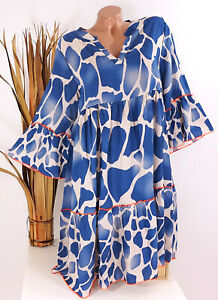 Italy 36 38 40 42 jeans blau ecru Tunika Kleid Hippie Hängerchen Damen oversize