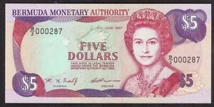 BANK OF BERMUDA 5 DOLLAR BANKNOTE 1997 MINT UNCIRCULATED QUEEN ELIZABETH