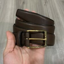 STUNNING! Ermenegildo Zegna Size 40 Soft Brown Leather Dress Belt Made In Italy