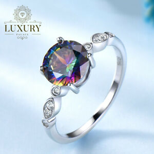 Rainbow Fire Mystic Topaz Genuine Solid 925 Sterling Silver Romantic Rings