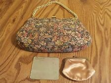 VINTAGE PALIZZIO FLORAL TAPESTRY CHAIN HANDLE EVENING PURSE W/MIRROR & COIN BAG
