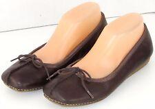 Clarks 9 M Ballet Flats Leather Comfort Shoes Split Toe Brown