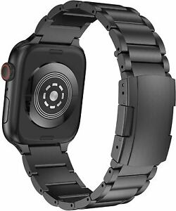 Titanium Alloy Metal Watch Band for Apple Watch Series 6/5/4/3/2/1 -(Black)