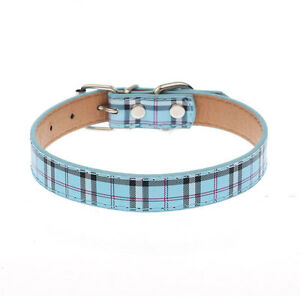 Plaid Dog Collar Durable PU Leather Adjustable Bling Rhinestone Pet Puppy Collar