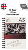 A5 Sketch Book Drawing Pad White Cartridge Paper Art Spiral 135 gsm Kids School