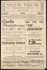 MAYFAIR THEATER Saint John, N.B. Canada 1932 Programme, Ads, Movie Outlines,