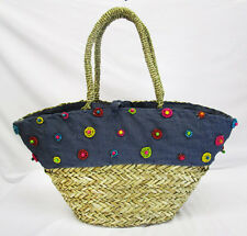 ** FILIPPO CATARZI BRAIDED Straw & Fabric Denim Flower Tote Bag Msrp $75.00