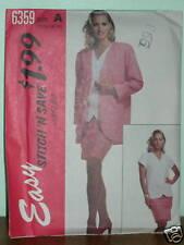 McCALLS PATTERN 6359 Loose-fitting JACKET TOP SKIRT VINTAGE Sizes 10-16 Easy