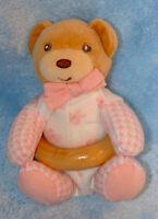 Kaloo Plush Tan Teddy Bear Pink Flower Wood Ring Rattle Soft Baby Girl Toy