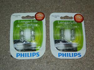 (2) NEW PACKS OF 2 PHILIPS LONGER LIFE 12961 DOME CARGO LIGHT BULBS 12961LLB2