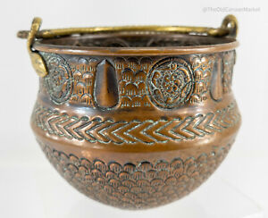 Antique Copper and Bronze Arts and Crafts Russian Hallmarked Basket Bowl