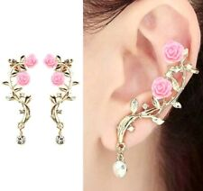 GOLD PINK ROSE LEAF FLOWER EAR STUD CUFF EARRINGS WOMEN JEWELRY FASHION LADY USA