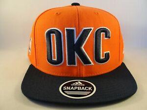 Oklahoma City OKC Thunder NBA Adidas Snapback Hat Cap Orange Navy