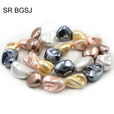 "Jewelry DIY Natural Mixed Freeform MOP Shell OF Pearl Beads Strand 15"" 11-14mm"