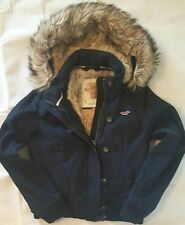 NWT navy Hollister faux fur hooded winter jacket canvas buttoned