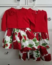 18 24 2T  Janie Jack TARTAN PARTY Dress Cardiagn  Headband Set Rose Red 3pc
