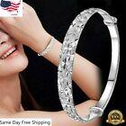 Women 925 Silver Crystal Chain Bangle Cuff Charm Bracelet Fashion Jewelry Gifts