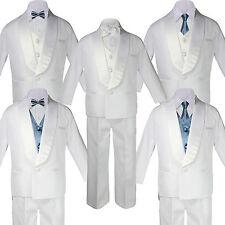 5-7pc Boy White Satin Shawl Lapel Suits Tuxedo DARK GRAY Satin Bow Necktie Vest