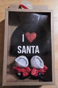 Baby Essentials I Love Santa Infant Girl's Hat + Socks 0-6 Months