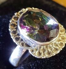 RAINBOW TOPAZ SOLID  STERLING SILVER HALLMARK FACETED RING