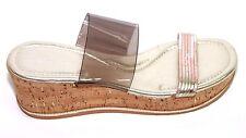 Donald J Pliner Gold Sabrina Wedge Sandal Sz 7.5n NWOB
