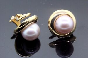 14k Yellow Gold Pearl Unique Clip On Earrings 6.6g. #30081