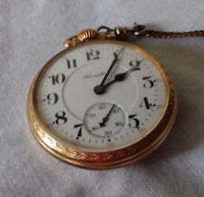 Antique Hamilton Gold Railroad Pocket Watch with Chain 992 WORKS & UNTESTED