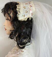 Vintage 70s Tiered Cathedral 2-Tier Wedding Veil w/ Attached Headpiece